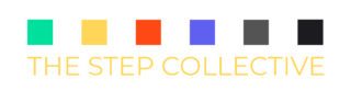 The word step collective with colored squares aligned above it
